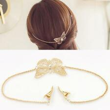 Fashion Women Leaves Butterfly Crystal Chain Hair Band Hair Clip Headband Gift