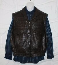 VTG Brown Patch Leather Zip Bomber Casual Biker Fishing Jacket Waistcoat Size M