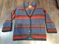 Vtg Woolrich Aztec Navajo Coat Wool Blanket Jacket S 80's Southwest Made in USA