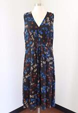 Anne Klein Black Floral Leaf Print Sleeveless Dress Size 14 Blue Orange Casual