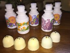 5 Vintage Avon Retro Flower Power Salt & Pepper Shakers Milk Glass Bud Vases etc