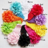 10Pcs Fashion Lace Flower Baby Kids Girl Toddler Headband Hair Bow Band Headwear