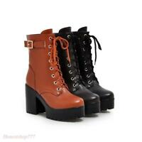 Womens Platform Chunky Heel Ankle Boots Buckle Lace Up Shoes Fashion Motorcycle
