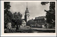 Friedrichroda Thüringen DDR Postkarte 1952 Dorfpartie an der Kirche Café Bäume