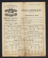 "ERVY (10) SCIERIE / MANCHES D'OUTILS ""RUINET & JOLLY"" Tarifs en 1888"