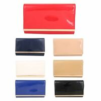 Womens Patent Plain Clutch Bag Wedding Prom Party Evening Bag Gold Metal Trim