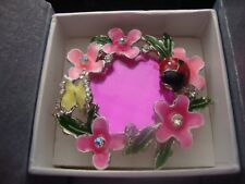 J10 LADYBUG RING W/PINK GLASS WHITE AUSTRIAN CRYSTALS IN SILVERTONE SIZE 6