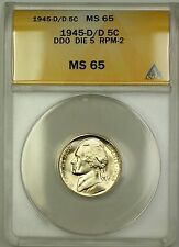 1945-D/D RPM-2 DDO DIE 5 Wartime Silver Jefferson Nickel 5c Coin ANACS MS-65 (F)