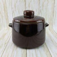VTG West Bend USA Made Brown Glazed Stoneware Crock Bean Pot with Handles & Lid