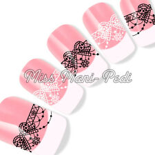 Nail Art Water Slide Decals Transfers Stickers Black & White Lace Bows Y195A