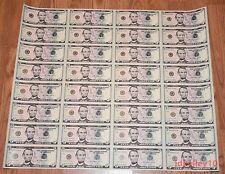 FULL 2013 $5 UNCUT SHEET 5 x 32 FIVE DOLLAR BILLS UNITED STATES CURRENCY MONEY