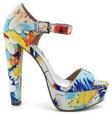 Platform Sandal 11 FLORAL*Open Toe*High Heel Ankle Strap DragQueen Crossdresser