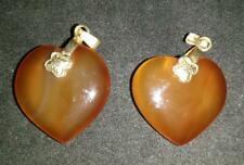 One Pair Agate Heart Shape necklace Pendant - Orange and Clear Colour