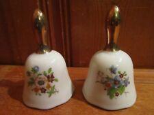 "Lot of 2 Floral Spring Flowers 4"" Ceramic Bells Gold Handle Euc"