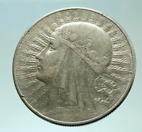 1932 POLAND Queen Jadwiga & Eagle Polish Antique Silver 10 Zlotych Coin i75881