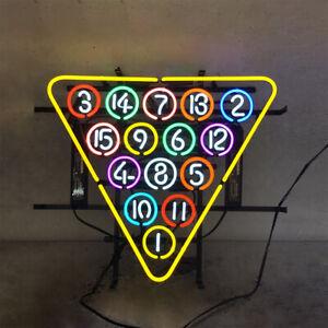 "19""x17""15 Ball Rack Billiards Snooker Pool Neon Sign Light Wall Hanging Artwork"