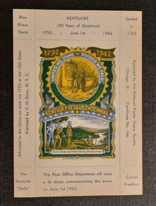 1942 Kentucky Statehood Anniversary LW Staehle Multicolor Mint Label Cachet