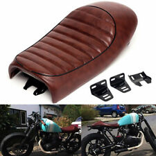 Universal Brown Motorcycle Soft Leather Cafe Racer Seat Saddle For Honda Yamaha