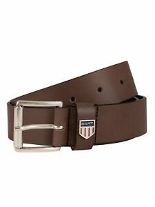 GANT Men's Retro Shield Leather Belt, Brown