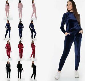 Womens Ladies Velvet Lounge Suit Set Sweatshirt Lounge Wear Tracksuit 2 Pockets