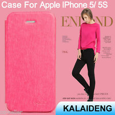 Red PU Leather iPhone 5 5S Cover Case Flip Apple Mobile Phone