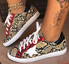 Women Lace Up Snake Print Loafers Flats Sequin Comfy Oxford Outwear Fashion Shoe
