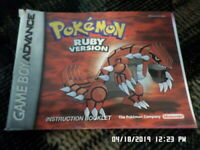 Pokemon Ruby Version (Gameboy Advance) GBA Instruction Manual Only.. NO GAME