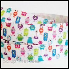 """Tiny Monsters RIBBON. 7/8"""" Grosgrain WHITE. Scrapbooking/Craft. Aliens,Kids Toys"""