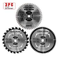 "3PC Set 7-1/4""60T&48T&24T Arbor5/8""Carbide Tip Circular Saw Blade For Metal Wood"