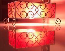 Vintage 50s 60s Brass Red Fiberglass Bedside Table Lamp Retro Mid Century Modern