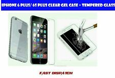 For Apple iPhone 6 Plus/6S Plus Clear Gel Case & Tempered Glass Screen Protector