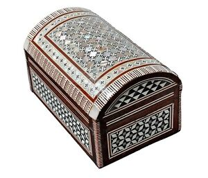 """Egyptian Handmade Jewelry Box Inlaid Mother of Pearl (6.8""""x4"""")"""