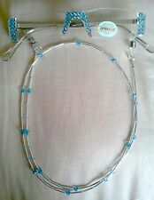 ! SASSY READING GLASSES AQUA CRYSTAL SILVER 4.00 READERS AND CHAIN !