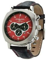 Jorg Gray 3500 Chronograph, Red Layered Dial Black Leather Strap New NIB