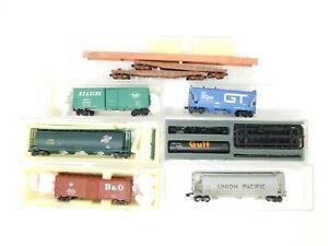 N Scale Assorted Freight GTW RDG B&O CNW KCS WRNX UP 8-Car LOT