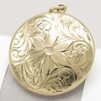 Antique Victorian 10k Gold Etched Flower Locket Pendant