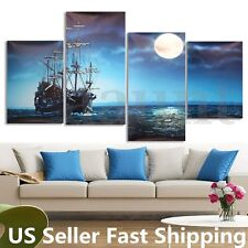 Modern 4Pcs Canvas Painting Sea Ship Print Picture Home Wall Art Decor No Frame
