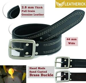 Men Belt Real Full Grain Leather Belt Single Piece Black 44mm AUS Brass Buckle