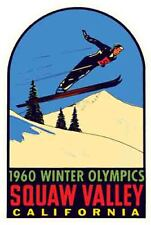 Squaw Valley California Skiing  Vintage 1950's Style  Travel Decal Sticker Label