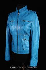 Manteaux et vestes motards bleues en cuir pour femme