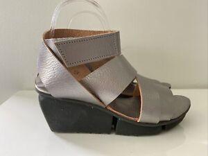 TRIPPEN 'Film' Silver Leather Sandals Shoes, EU 39 | US 8-8.5