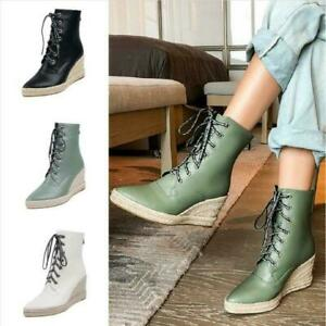 Womens Wedge Heel Pointy Toe Ankle Boots Lace Ups Shoes Student Platform Casual