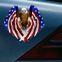 Car Truck Laptop Window Decal Bumper Bald Eagle USA American Flag Sticker Cooler