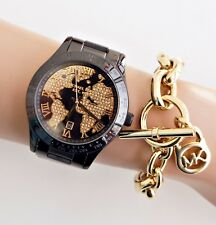 Original Michael Kors Uhr Damenuhr MK6091 Layton Kristall Farbe:Schwarz/Gold NEU