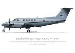Beech B200 VH-HPX Army - A3+ Profile Print