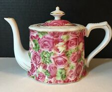 Porcelain Treasures Betty Platner Pink Roses Teapot With Lid