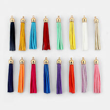 10pcs Mixed Suede Leather Tassel For Key Chains/Cellphone/Bag with KC gold caps