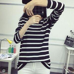 Women Crew Neck Long Sleeve Black&White Striped Shirt Casual Tops Blouse T-Shirt