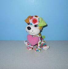 Corduroy Ear & Pink Heart Puppy Dog Valentines Day Stuffed Plush w/ Color Swirls