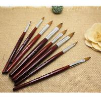 Kolinsky Acrylic Crimped Nail Brush Art Wood Handle Sizes #4 - #18